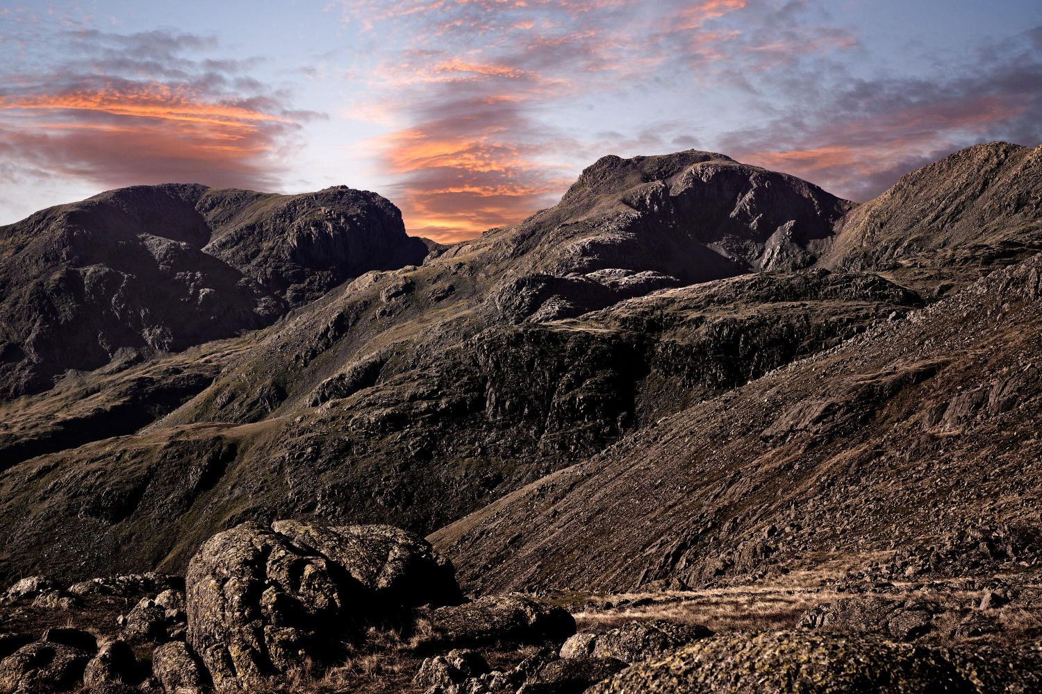 Sunset behind the Scafell Range