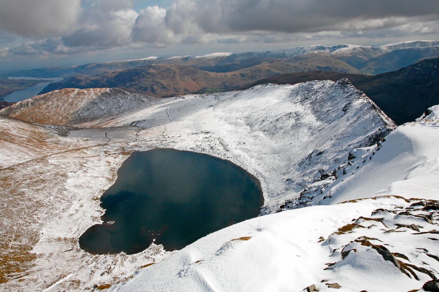 Snow on Helvellyn and Striding Edge