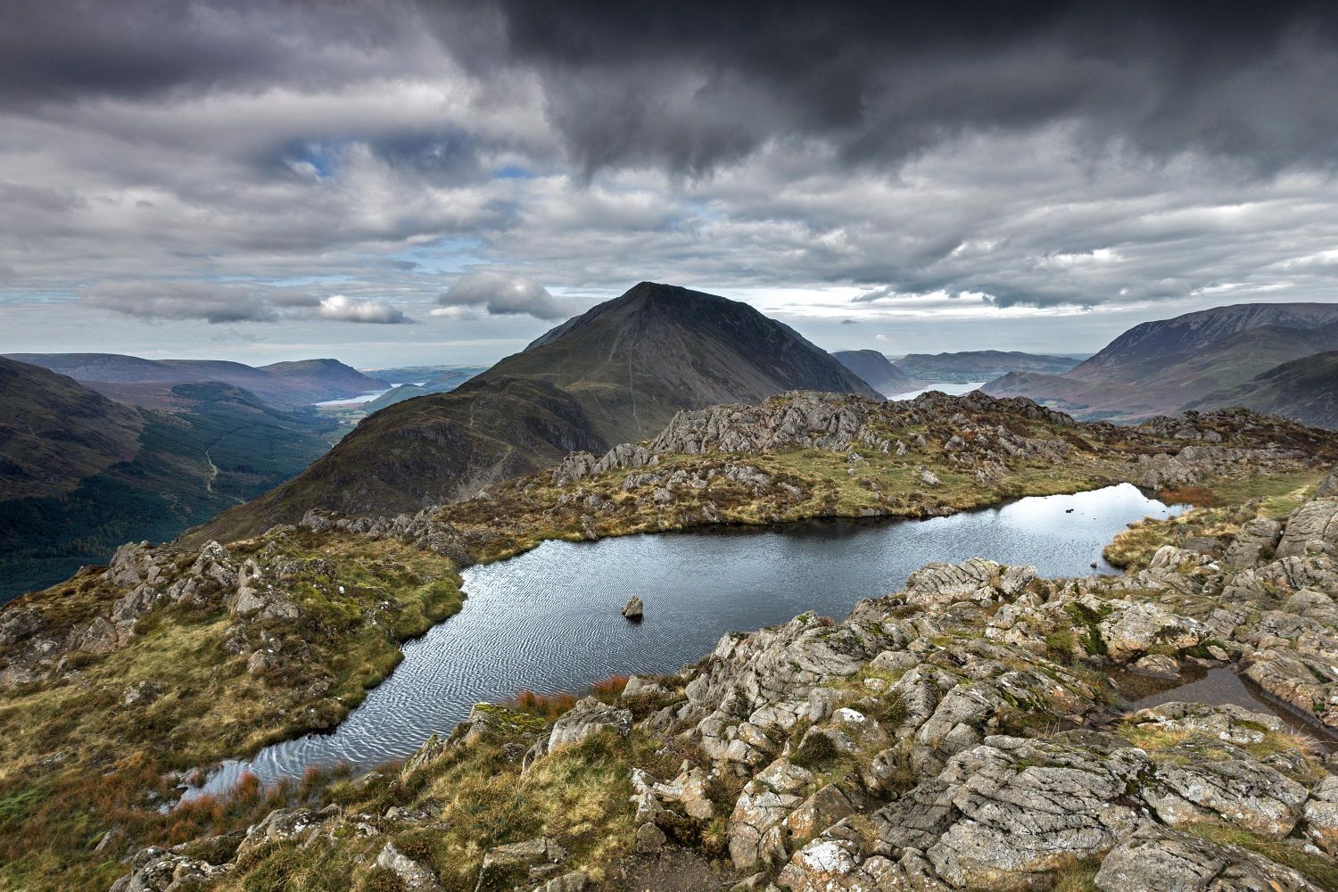 Ennerdale, High Crag & Crummock Water From Haystacks Summit Tarn