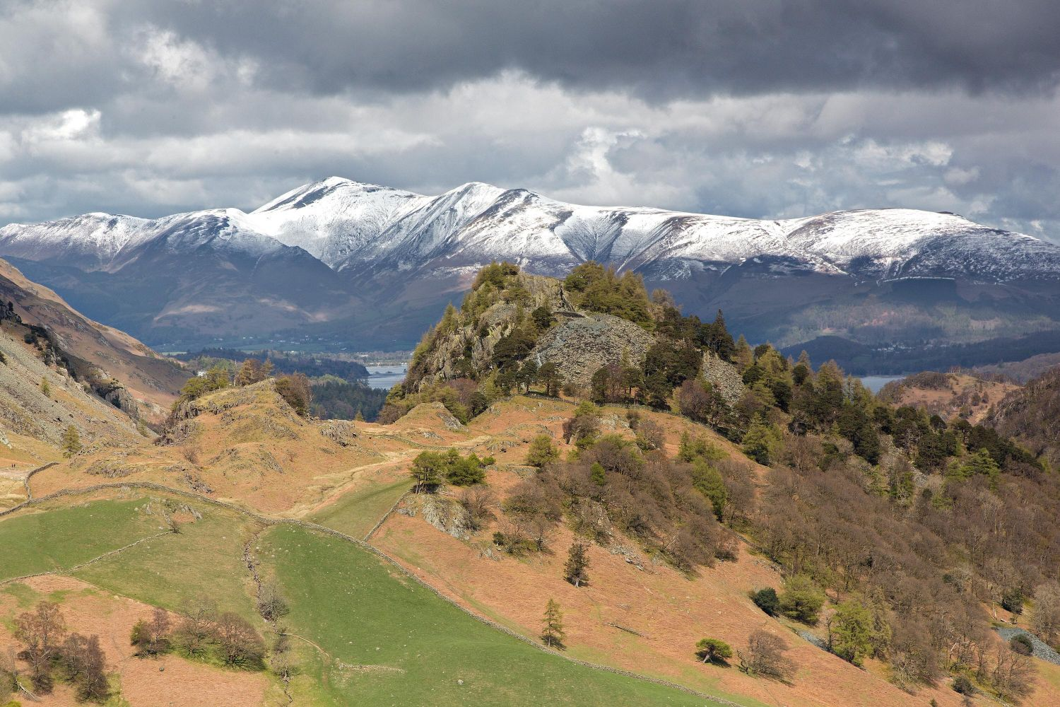 Castle Crag and Skiddaw after a fall of snow