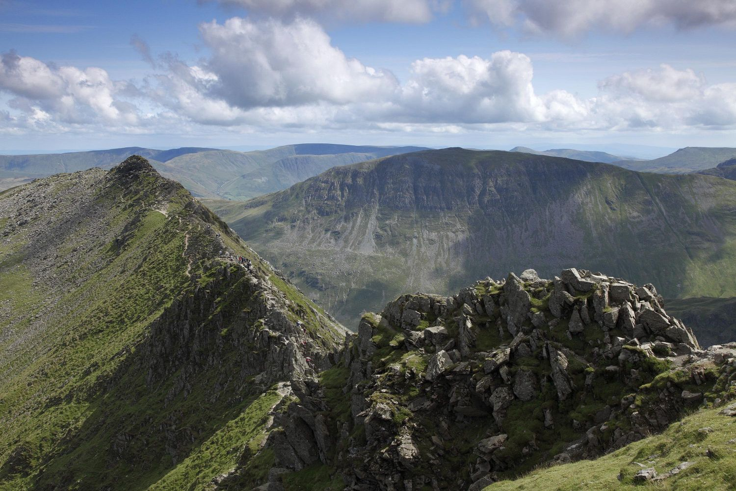 Striding Edge and St Sunday Crag taken from Helvellyn summit