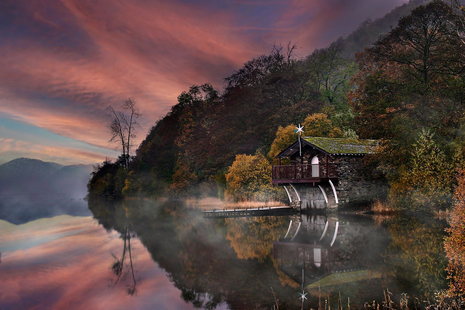 Misty sunset at The Duke of Portland Boathouse on Ullswater by Martin Lawrence