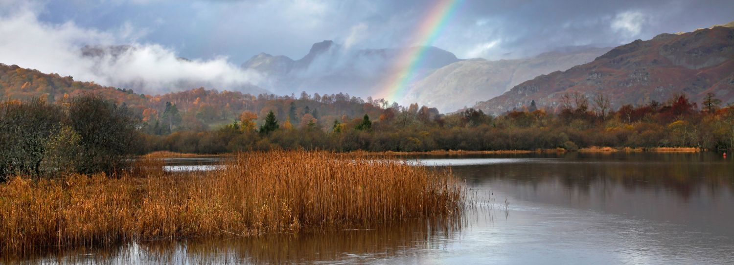 Rainbow over the Langdale Pikes from Elterwater Tarn