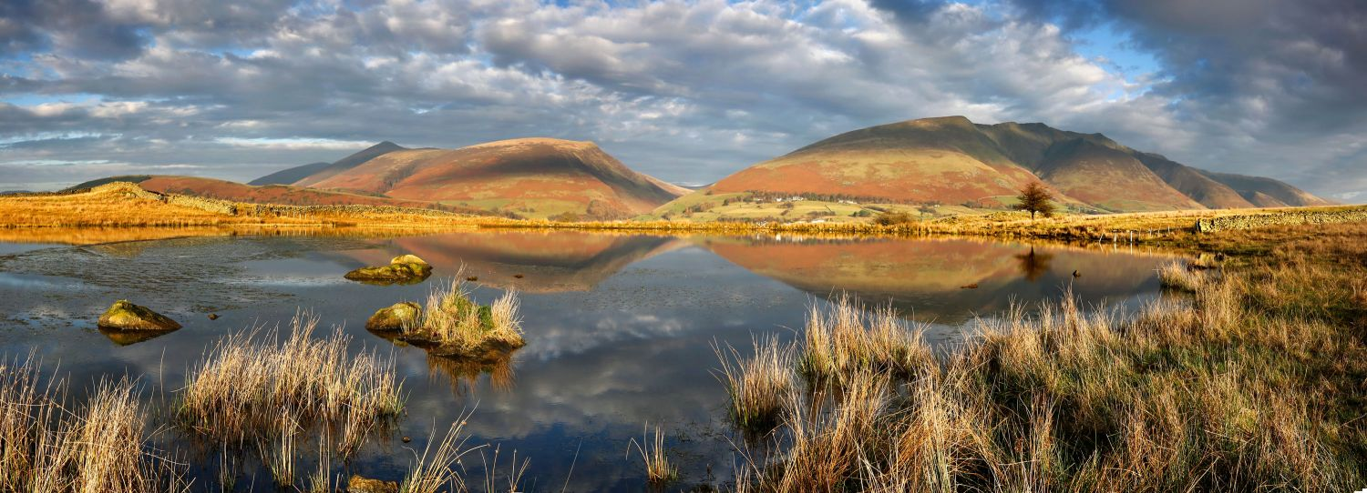 Reflections of Skiddaw and Blencathra in Tewet Tarn