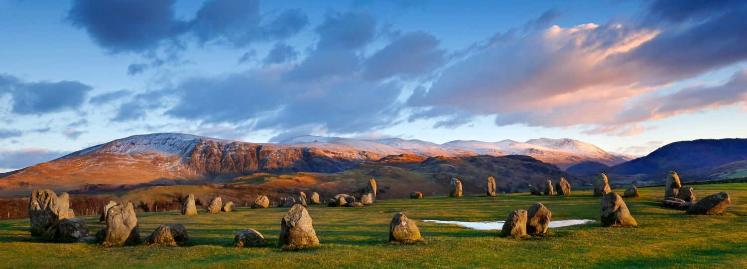 Winter sunset over Castlerigg Stone Circle