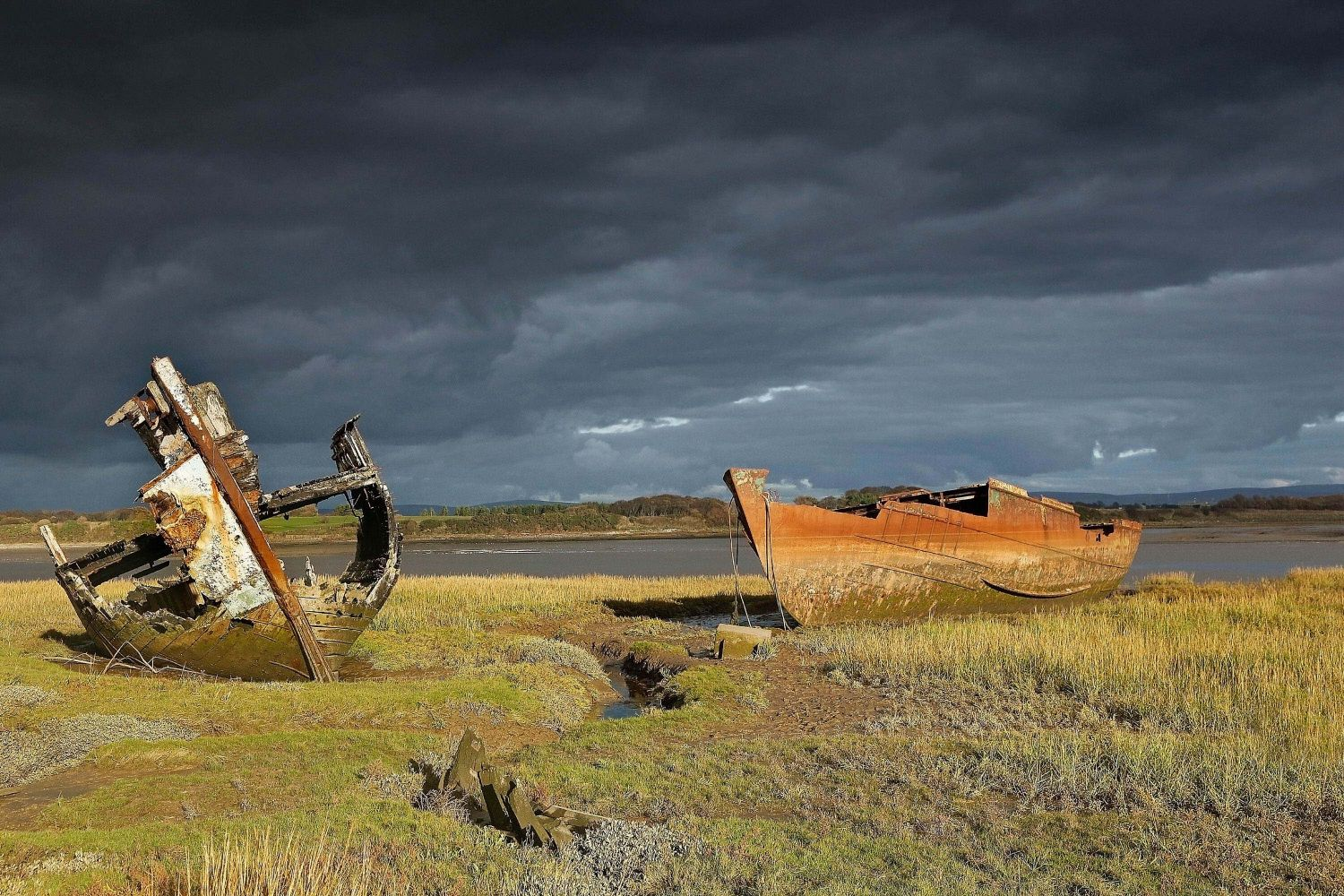 The wrecks at Fleetwood Marshes in Lancashire