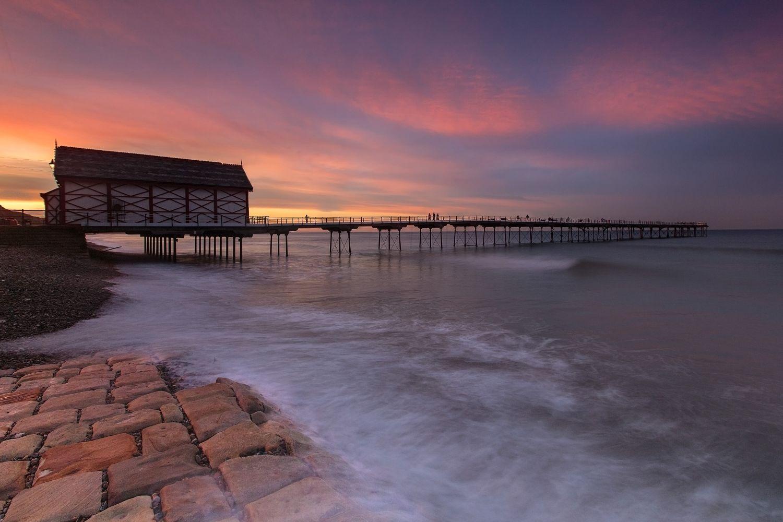 Sunset over Saltburn Pier, North Yorkshire