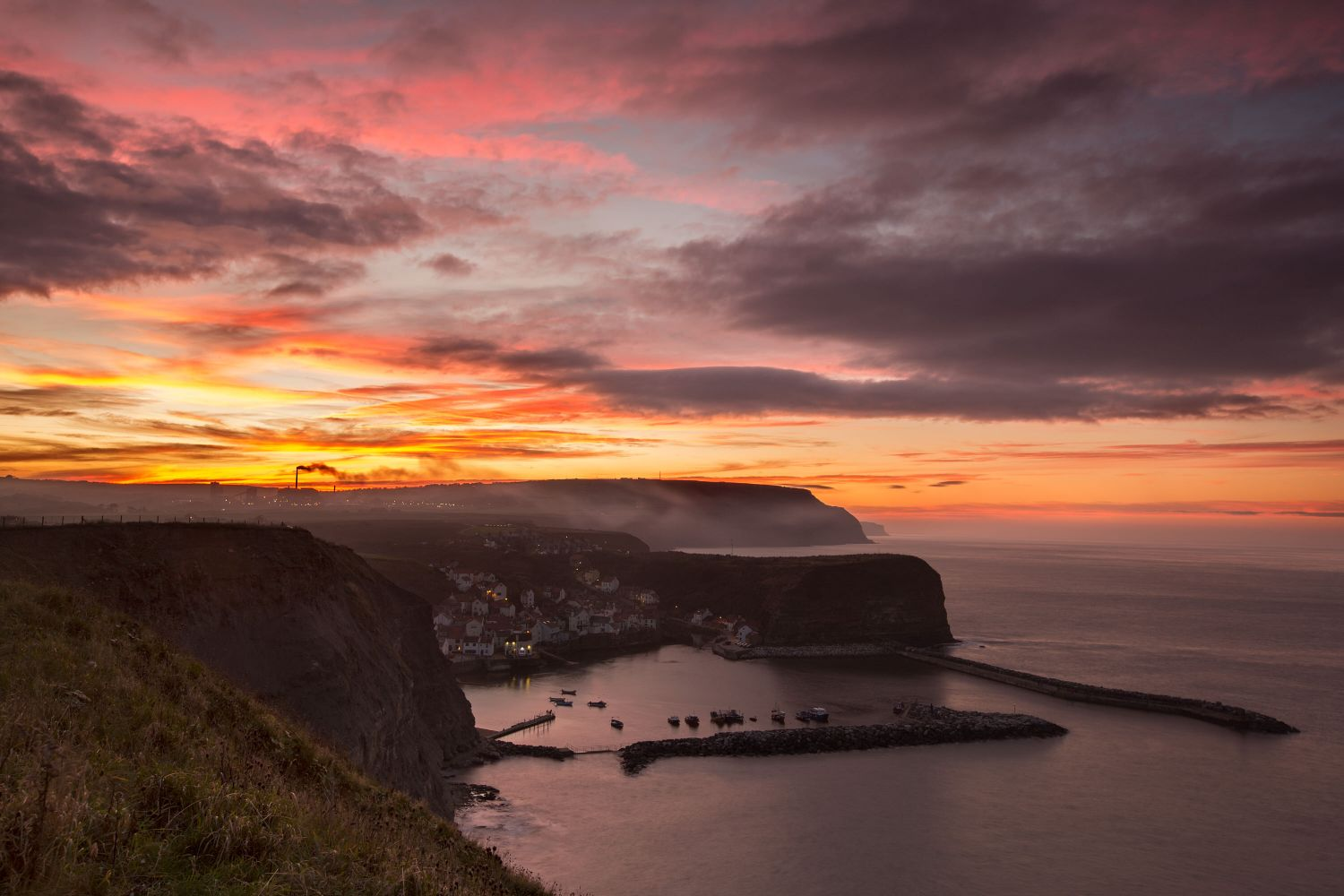 Sunset over Staithes, North Yorkshire