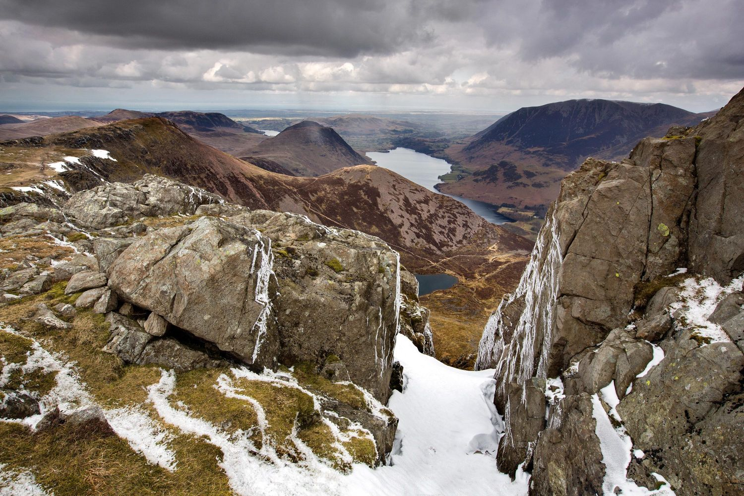 Chapel Crags Gulley looking down to Bleaberry Tarn