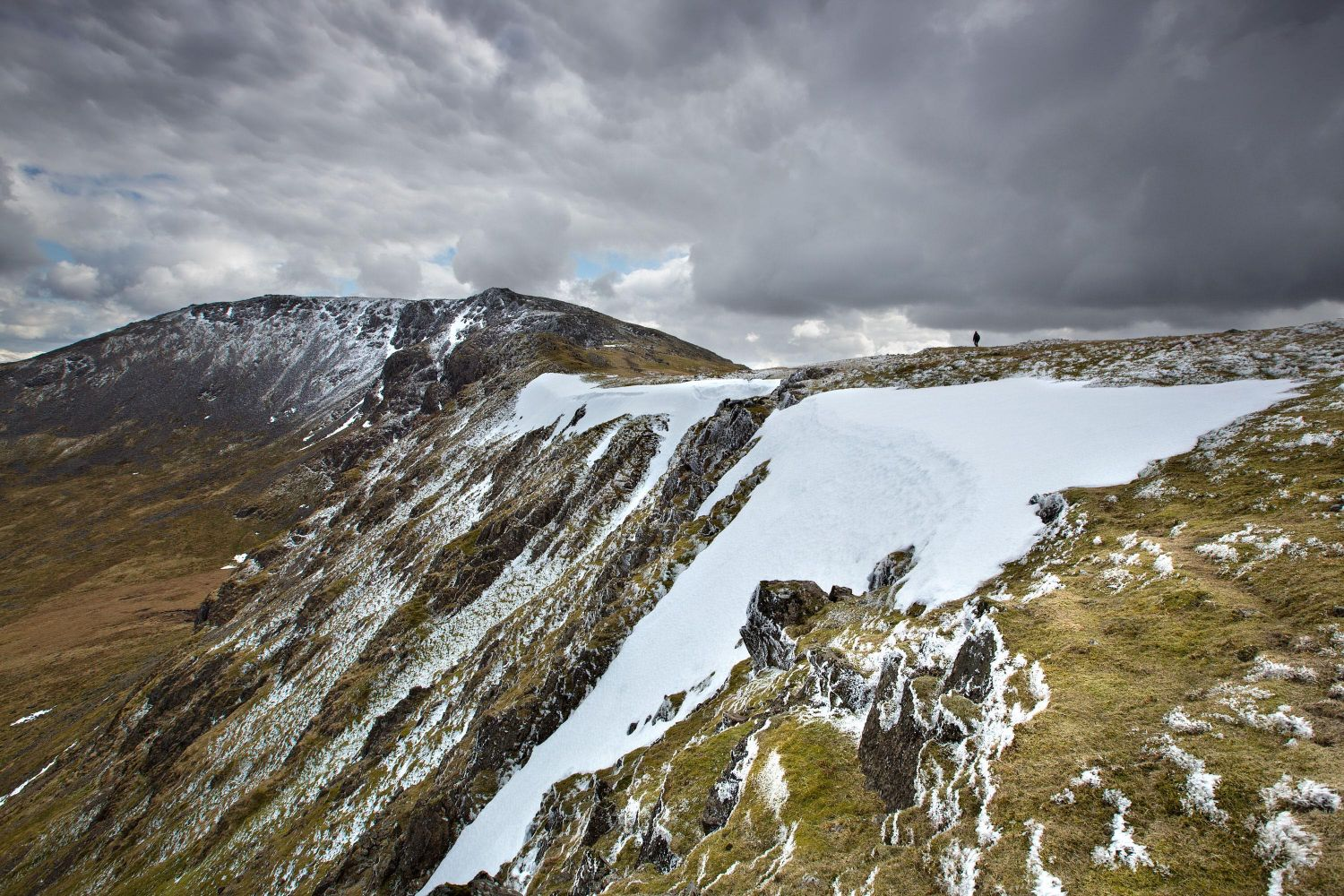 A hiker on the ridge from Red Pike to High Stile, Buttermere in the English Lake District