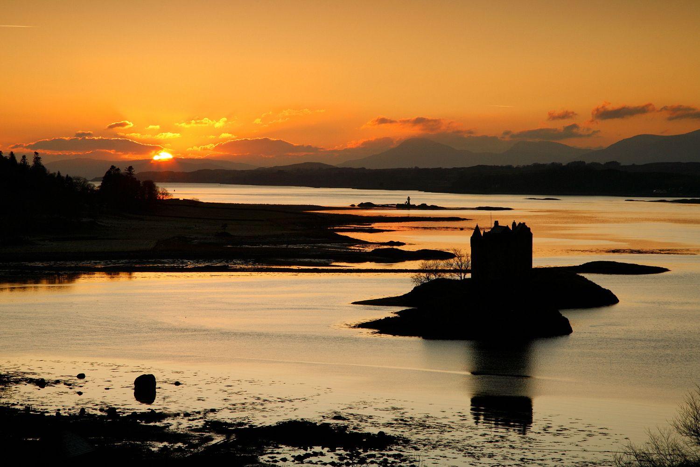 Sunset over Castle Stalker, Loch Linnhe
