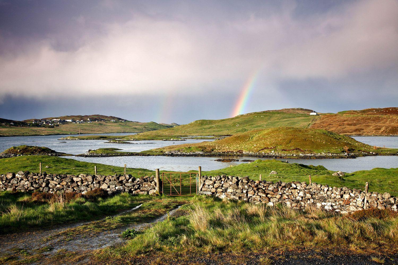 Rainbow over Loch Eireasort on the Isle of Lewis
