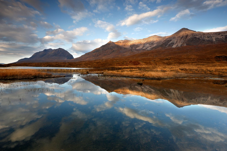 Liathach and Beinn Eighe reflected in Loch Clair