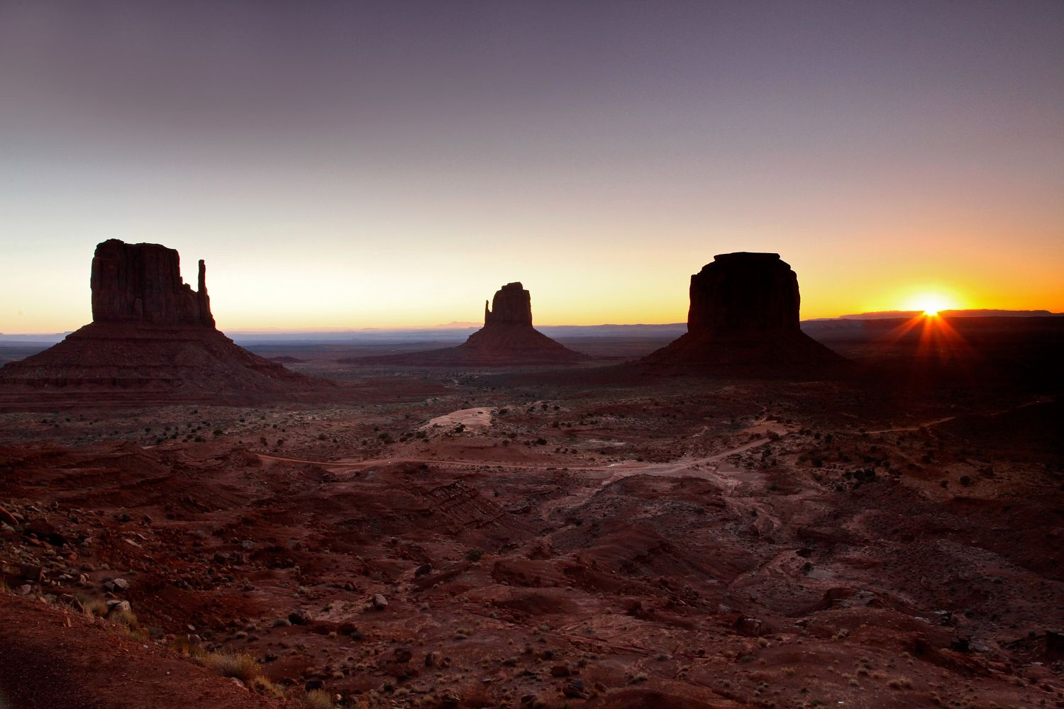 Monument Valley sunrise showing all the Monument Valley Butes