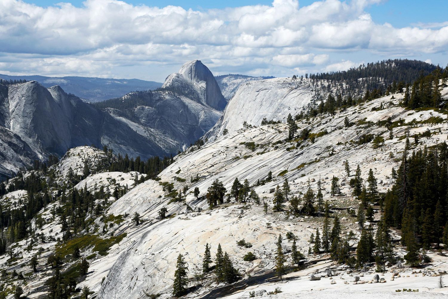 Half Dome from Olmsted Point, Yosemite National Park on the Tioga Road after a heavy fall of snow.