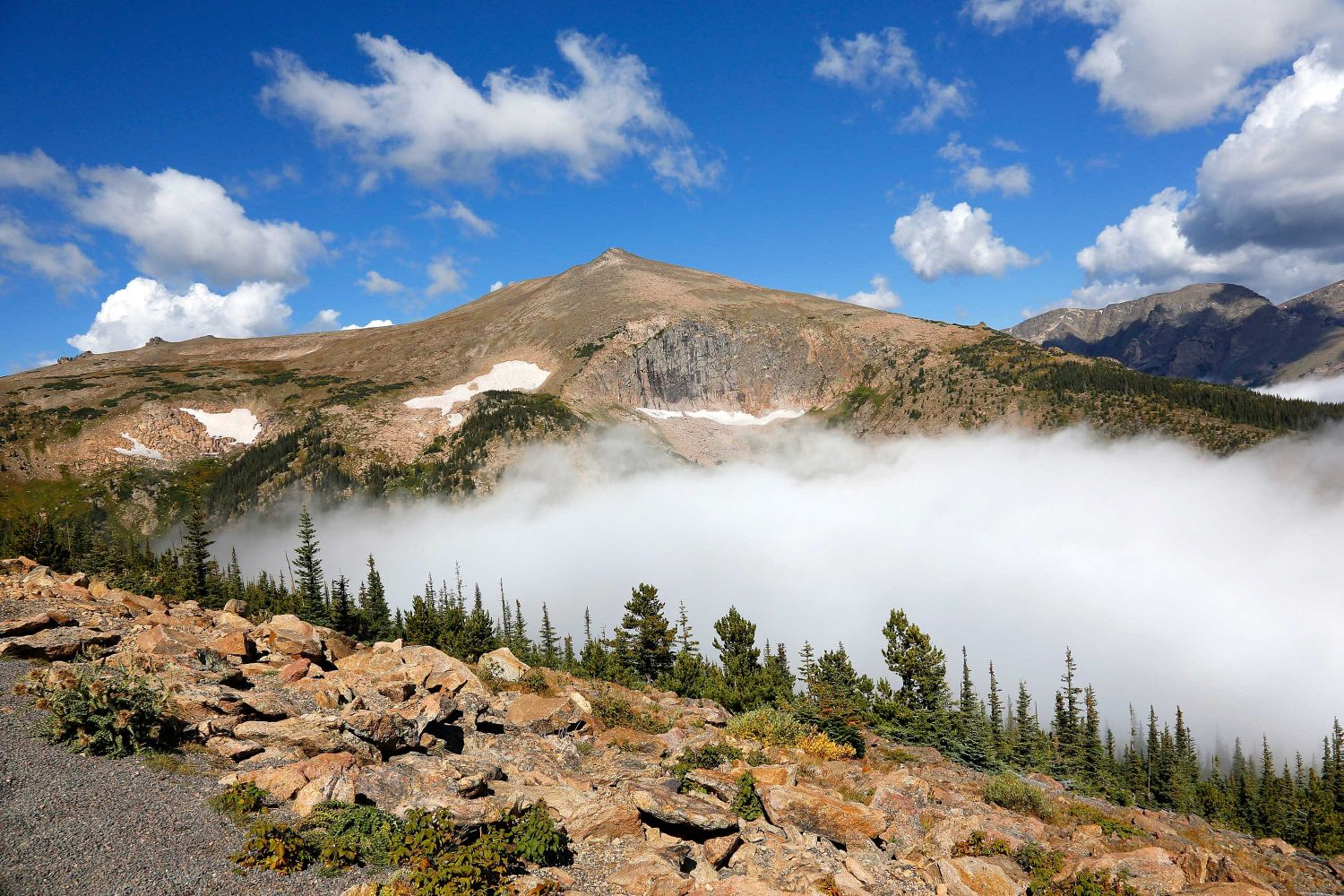 Sundance Mt from Trail Ridge Road taken from above the clouds