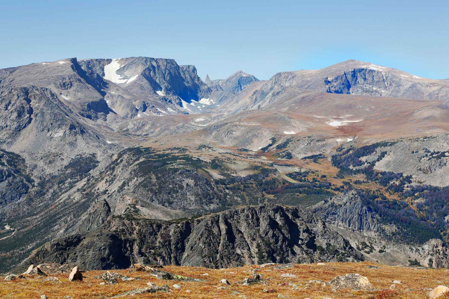 Beartooth Mountain Range showing the Bear's Tooth in the centre.