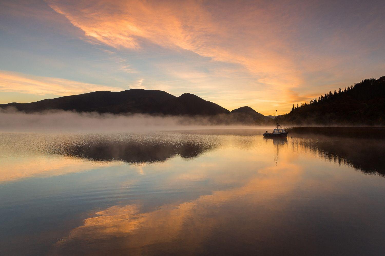 Dawn skies over Bassenthwaite Lake Skiddaw