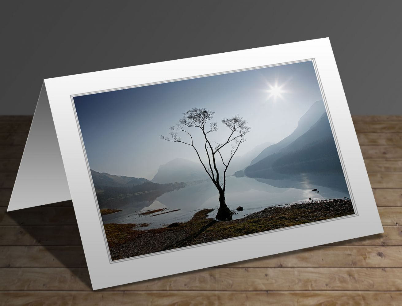 Morning mist on Buttermere Lake District greeting card