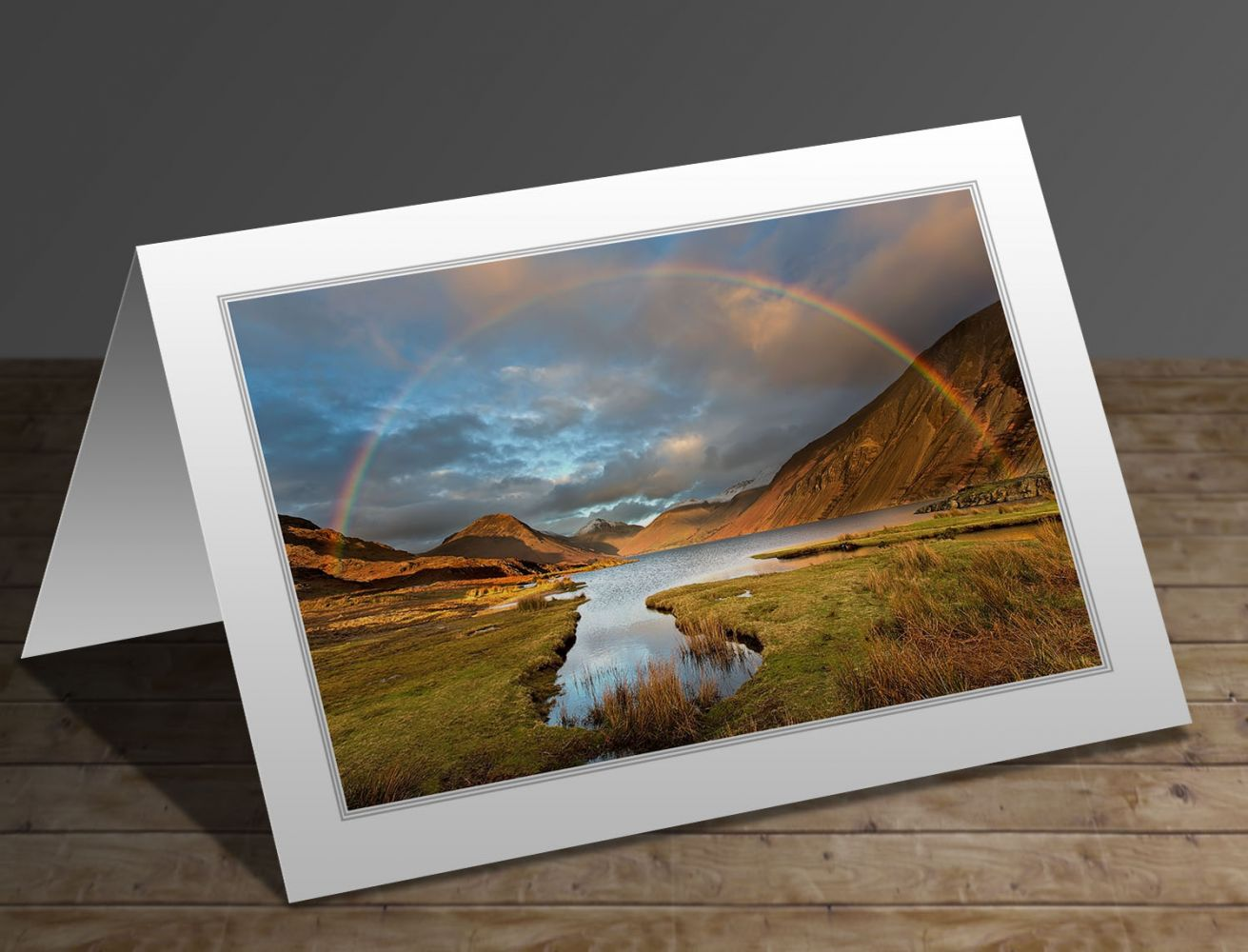 Rainbow at sunset over Wastwater Lake District greeting card
