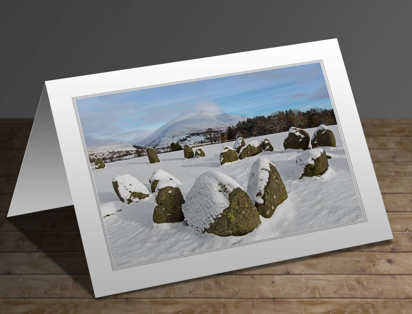 Snow on Blencathra from Castlerigg Stone Circle Lake District greeting card