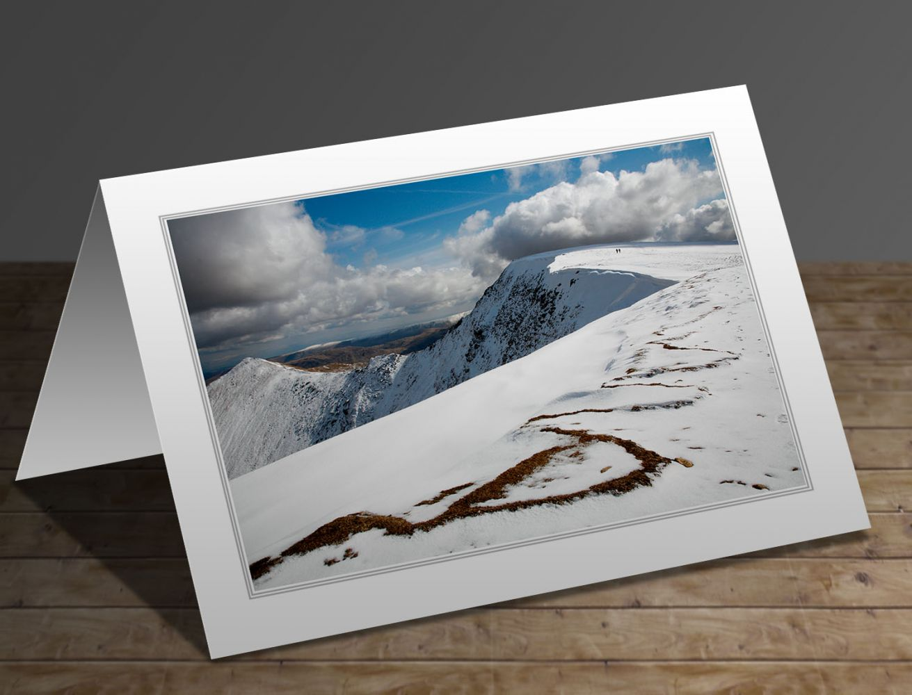 Almost there on the footpath to Hellvelyn Lake District greeting card