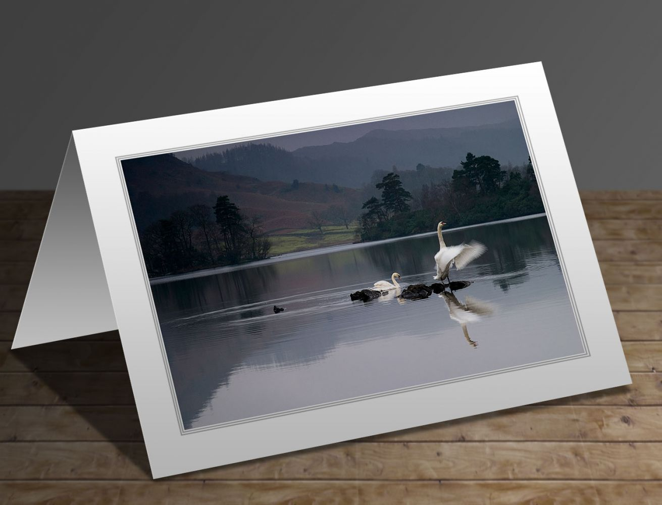 A greeting card featuring the Lake District image Dawn Display at Rydal Water by Martin Lawrence