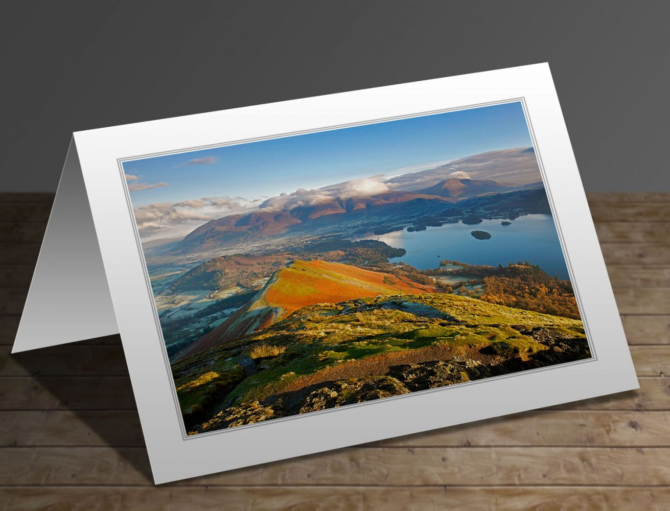 A greeting card containing the image Catbells bathed in morning light in the English Lake District by Martin Lawrence