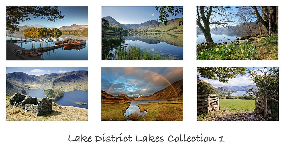 A pack of 6 assorted Lake District greeting cards featuring images of some of the Lake District Lakes