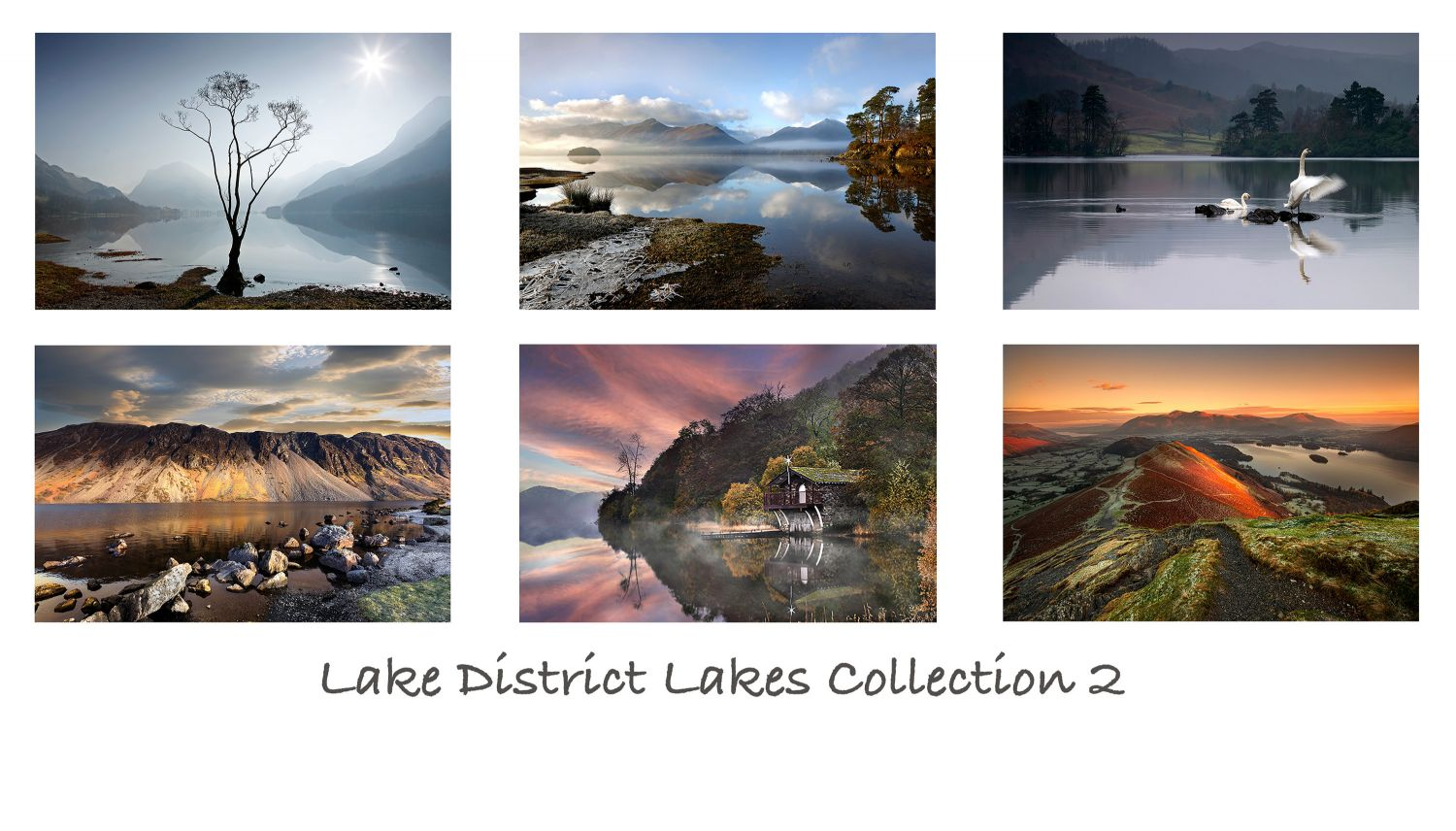 A pack of 6 Lake District Greeting Cards featuring stunningimages of some of the beautifulEnglishLake District lakes - Buttermere, Wastwater, Rydal Water, Ullswaterand Derwentwater.