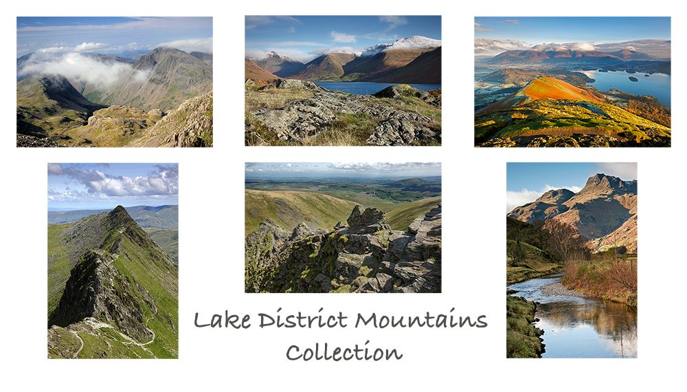 A pack of 6 Lake District Greeting cards featuring stunning images of some of the English Lake District's most famous mountains including Scafell and Helvellyn.