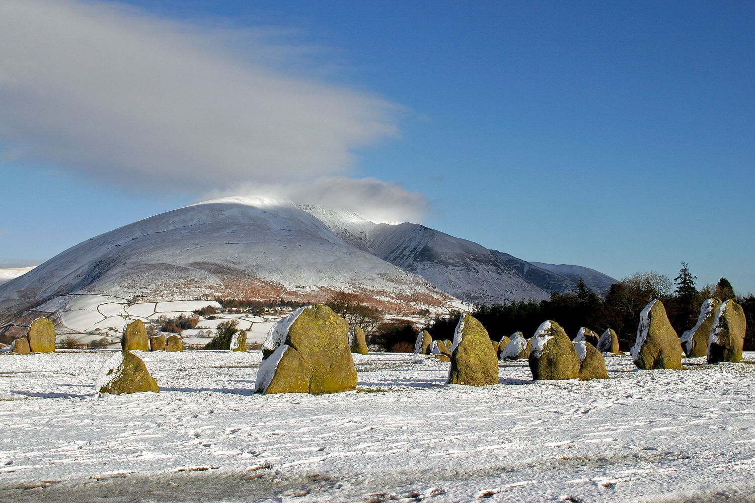 Deep snow at Casterigg Stone Circle near Keswick taken on Boxing Day