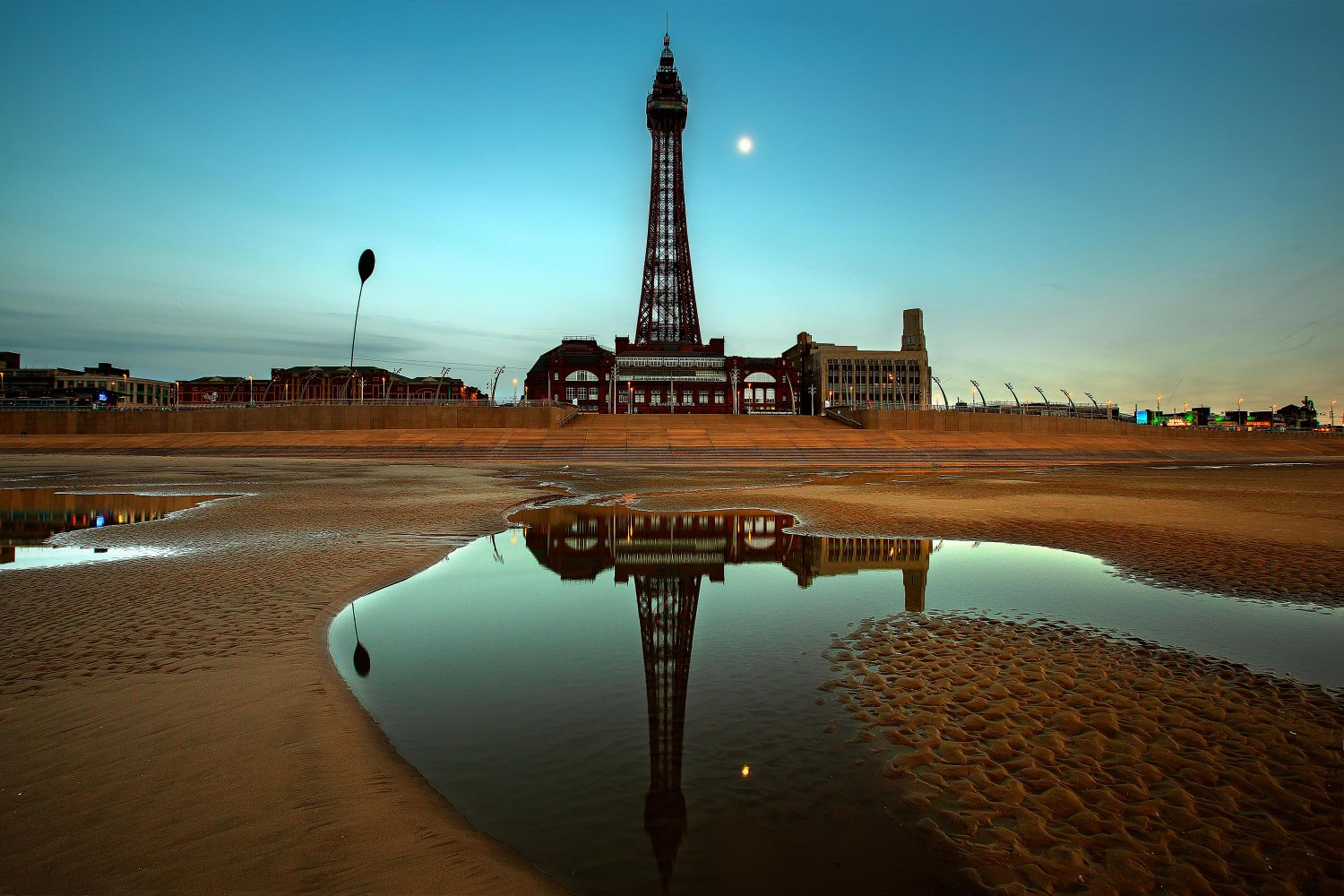 Moonlight over Blackpool Tower at sunset