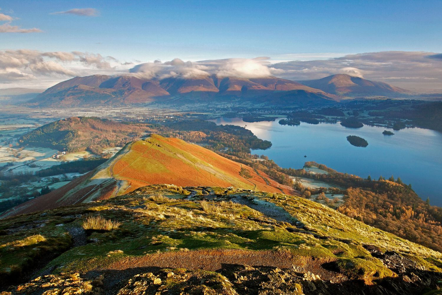 Looking down to Catbells and across Derwentwater towards  Skiddaw from the approach to Maiden Moor