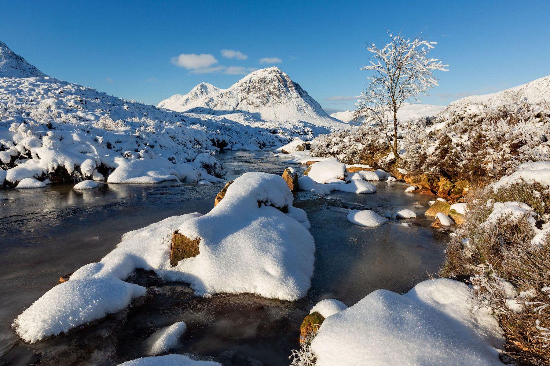 Snow on Buachaille Etive Mor at the head of Glencoe