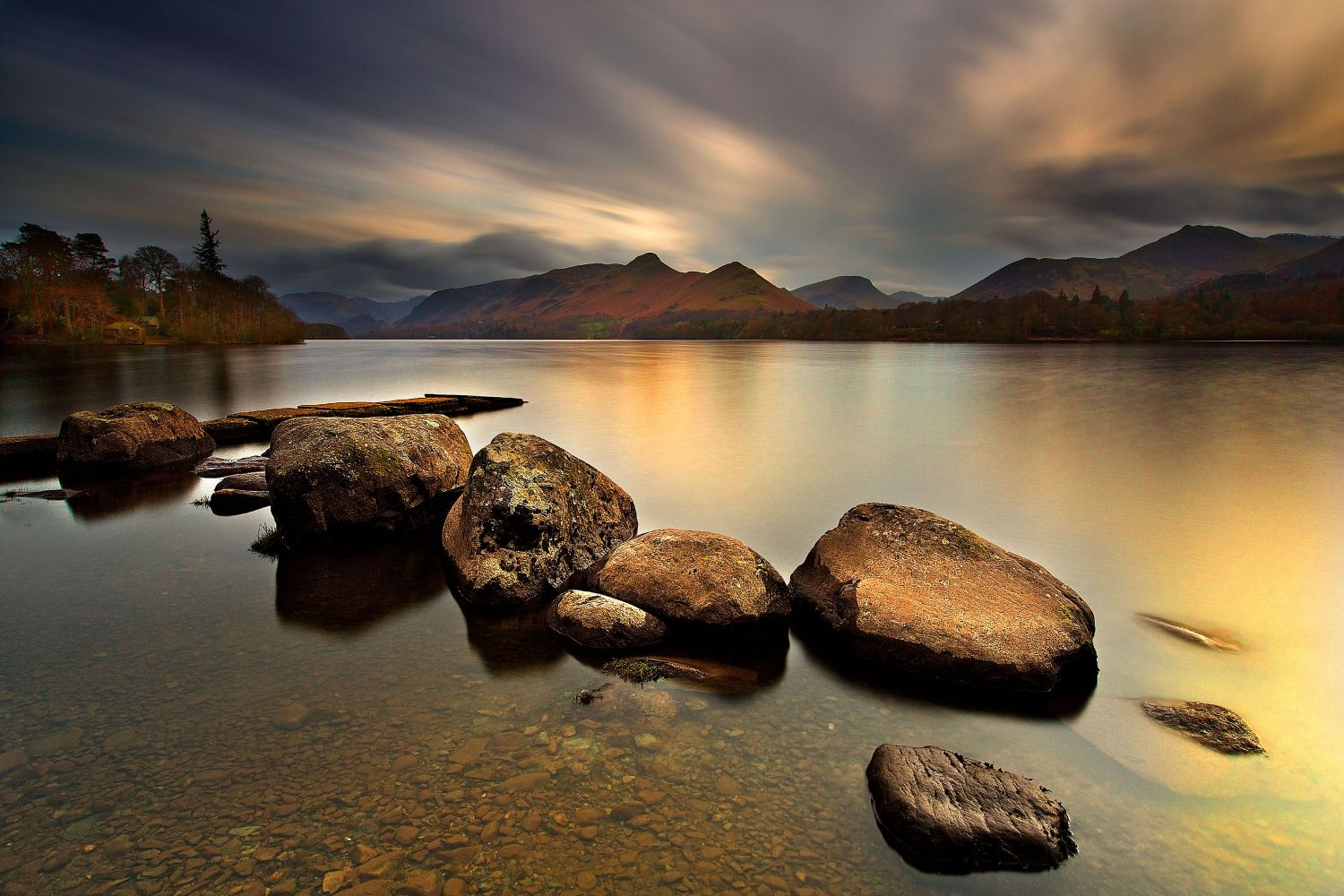Last Rays of Light over Isthmus Bay Derwentwater