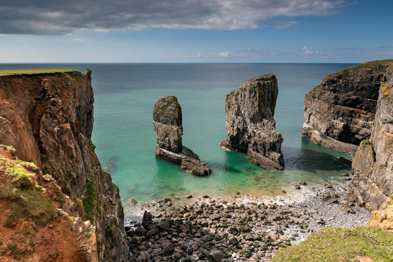 Elegug Stacks which lie alongside the Pembrokeshire Coast Path