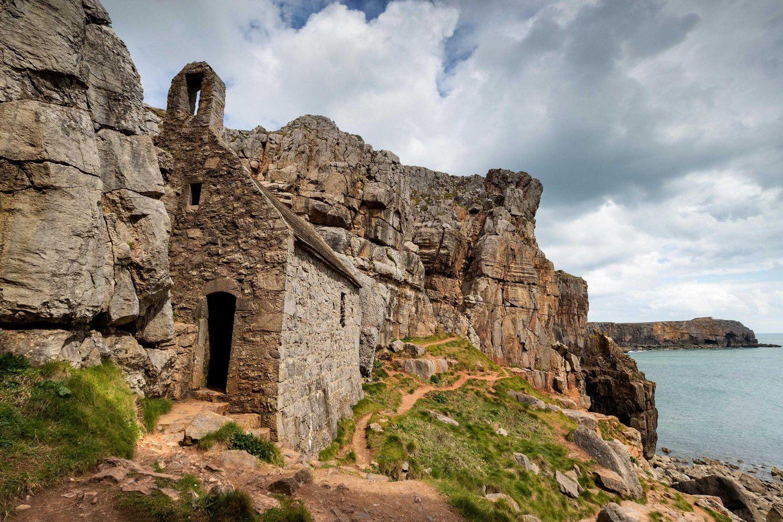 St Govan's Chapel at St Govan's Head on the Pembrokeshire Coast Path