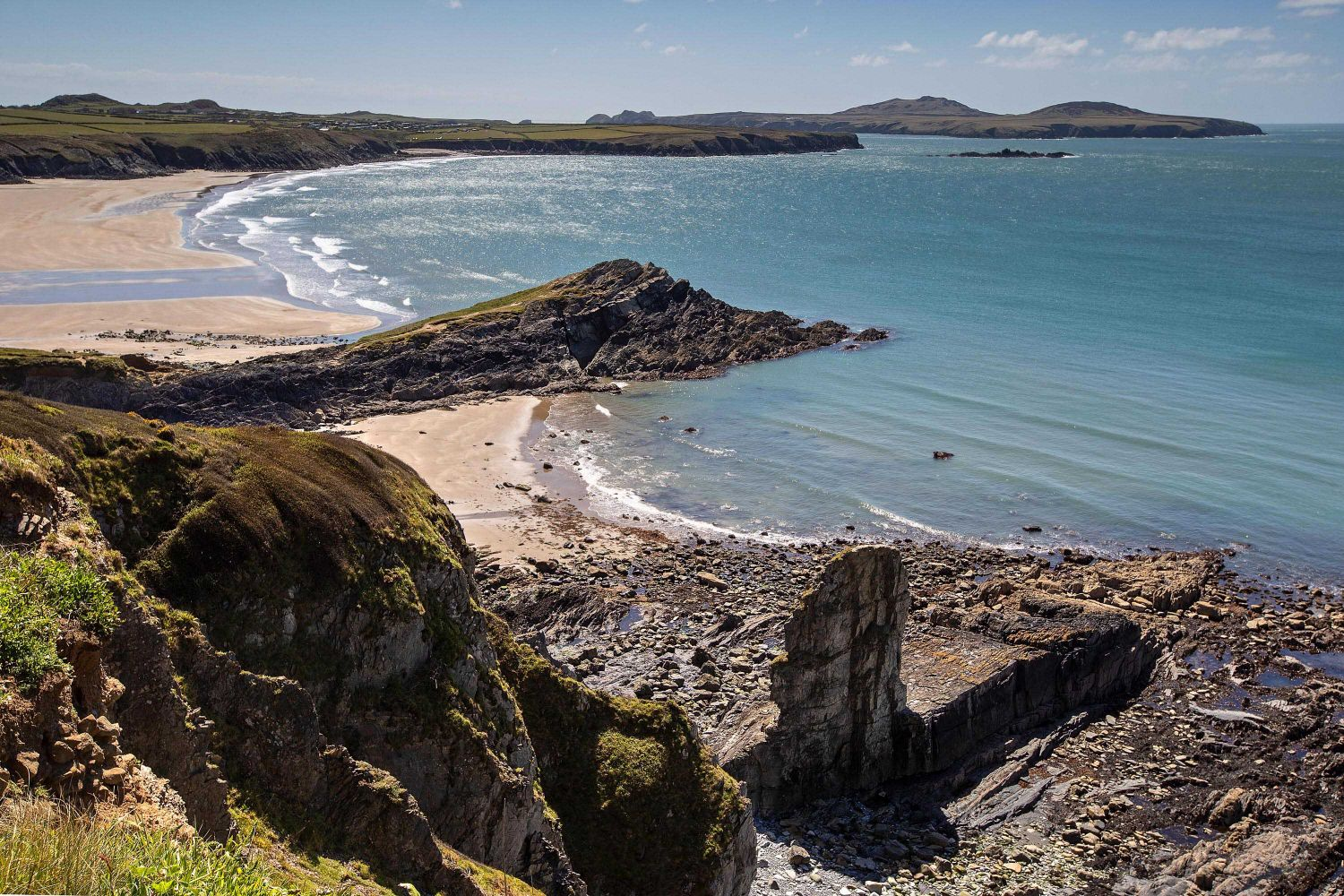 Looking back over Whitesands Beach to Ramsay Island near St David's, Pembrokeshire