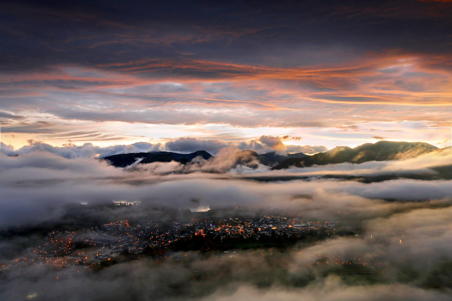 A truly breathtaking view of Keswick Lights from Latrigg Summit through a lifting temperature inversion