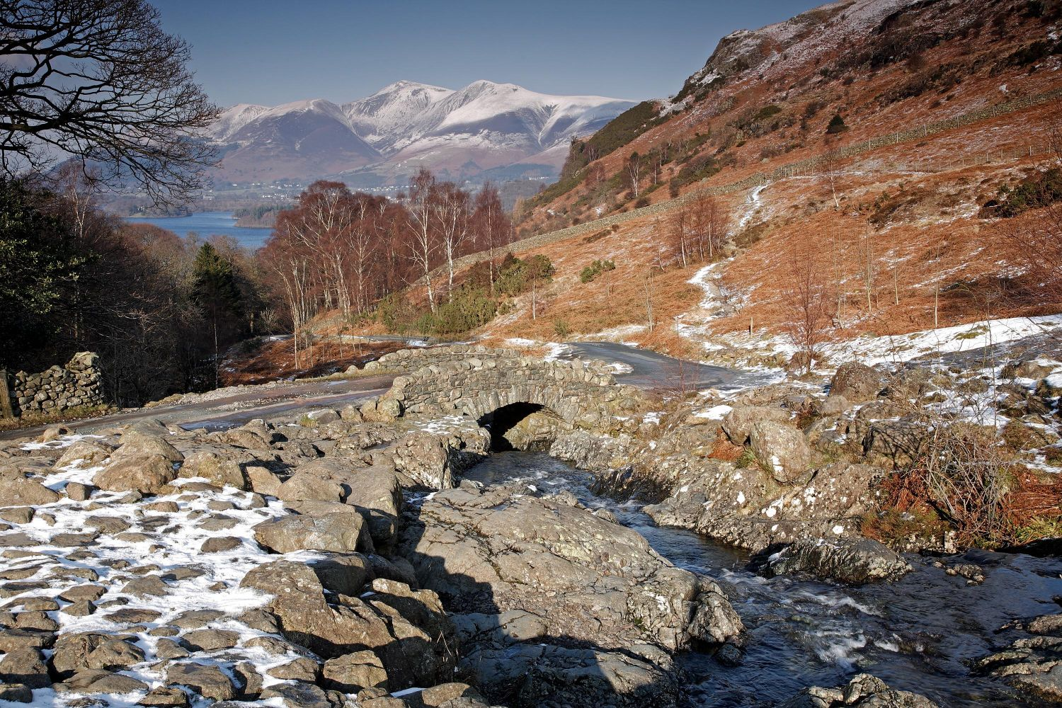 Melting snow at Ashness Bridge near Derwentwater