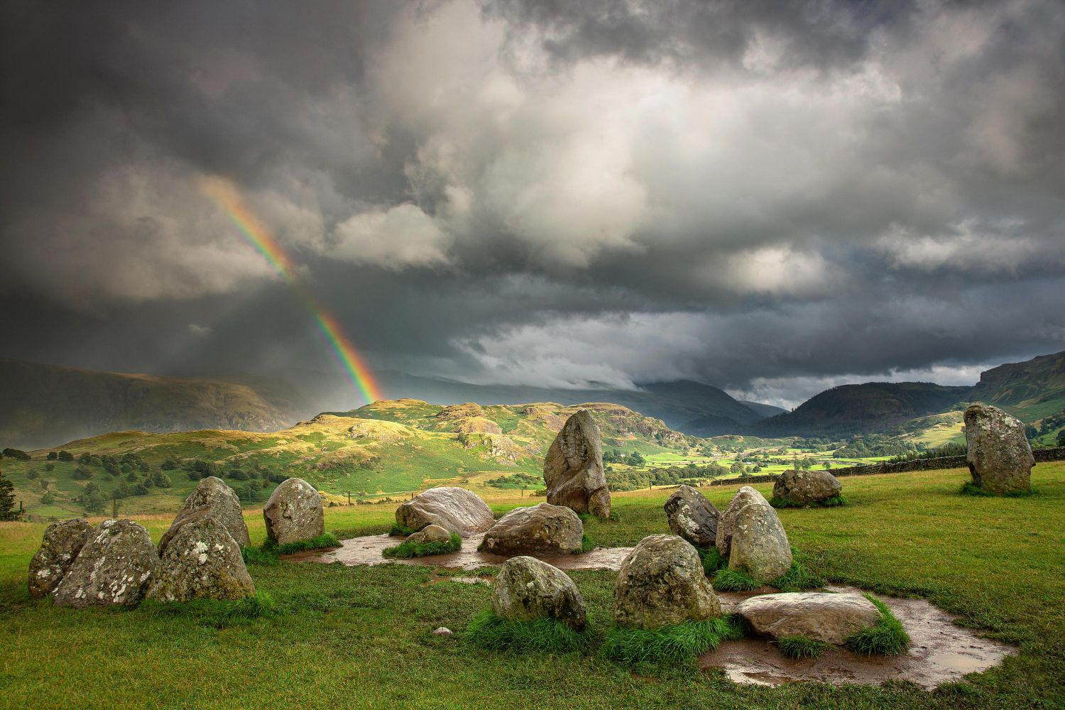 Rainbow over the Castlerigg Stone Circle