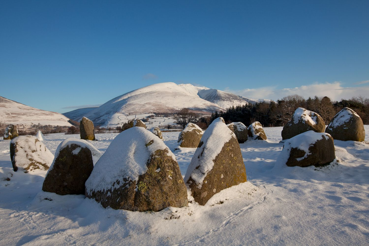 Snow on Blencathra from Castlerigg Stone Ciircle
